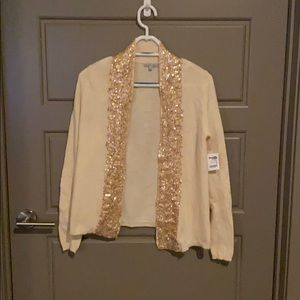 Charlotte Russe Champagne Cardigan w/Sequin Detail